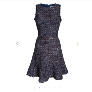 Sleeveless Tweed Fit & Flare Dress